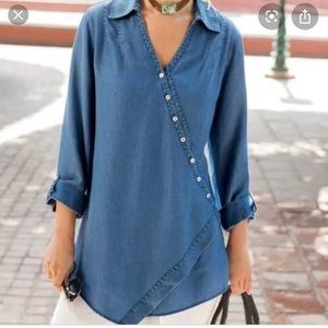 Soft Surroundings Chambray Denim Tunic XL